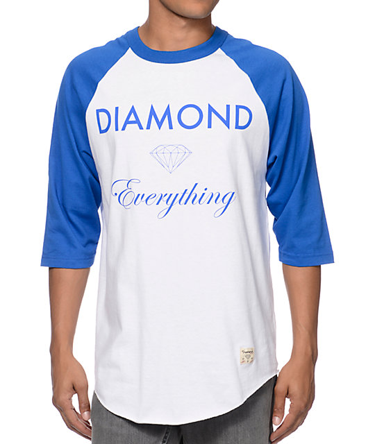 Diamond Supply Co Diamond Everything White & Royal Blue Baseball T-Shirt