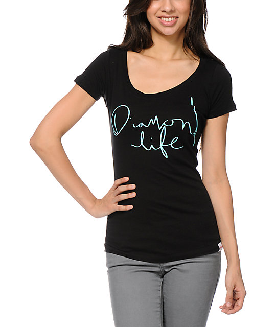 Diamond Supply Co Diamond Life Black Scoop Neck T-Shirt