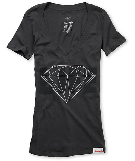 Diamond Supply Co Diamond Life Charcoal V-Neck Shirt