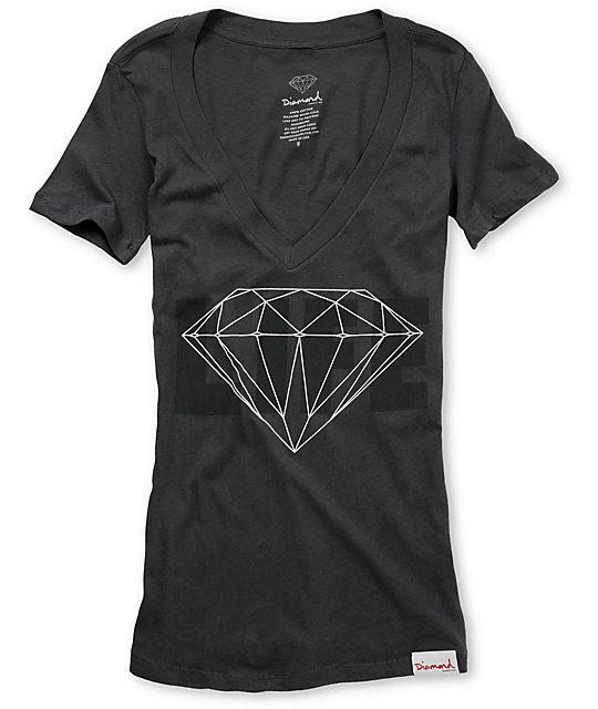 Diamond Supply Co Diamond Life Charcoal V-Neck Shirt