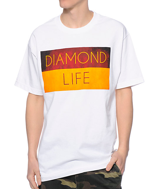 Diamond Supply Co Diamond Life Flag White T-Shirt