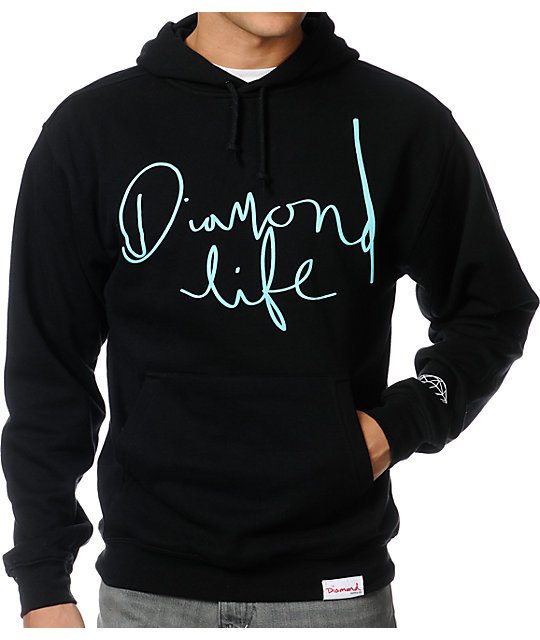 Diamond Supply Co Diamond Life Script Black Pullover Hoodie