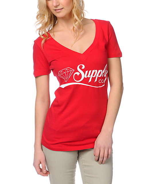 Diamond Supply Co Diamondaire Red V-Neck T-Shirt
