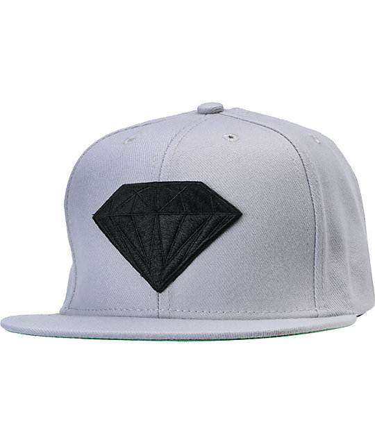 Diamond Supply Co Emblem Grey & Black Snapback Hat