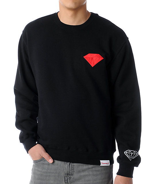 Diamond Supply Co Emblem Patch Black Crew Neck Sweatshirt