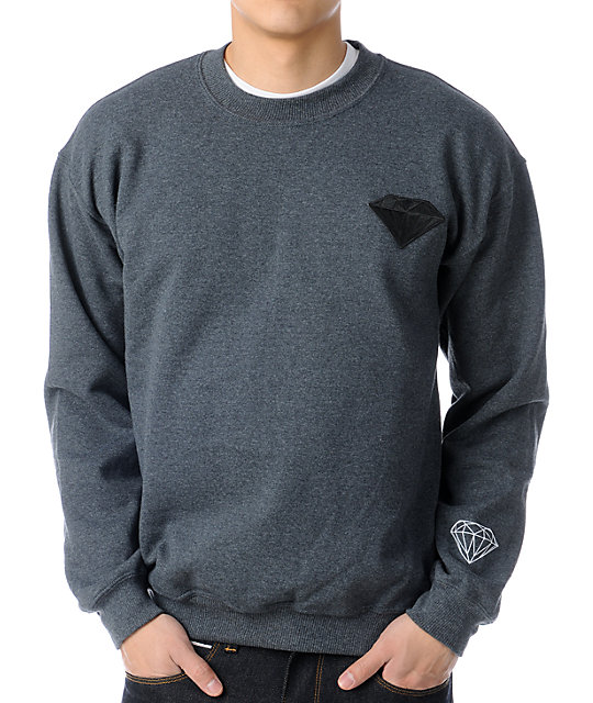 Diamond Supply Co Emblem Patch Charcoal Crew Neck Sweatshirt