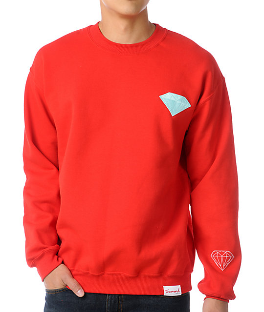 Diamond Supply Co Emblem Patch Red Crew Neck Sweatshirt