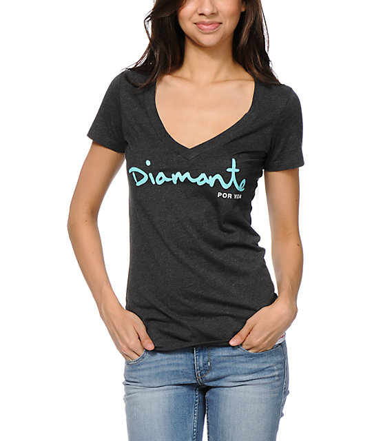 Diamond Supply Co For Life Charcoal V-Neck T-Shirt