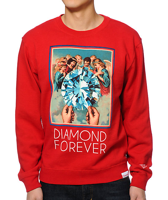 Diamond Supply Co Forever Red Crew Neck Sweatshirt at ... - photo#46