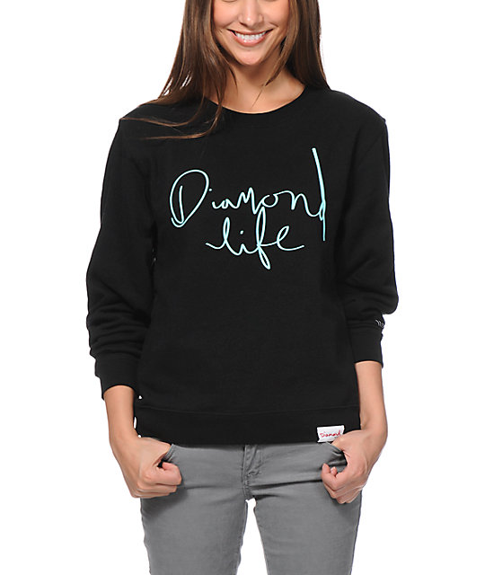 Diamond Supply Co Handwritten Black Crew Neck Sweatshirt