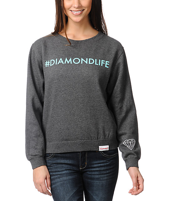 Diamond Supply Co Hashtag Charcoal Crew Neck Sweatshirt