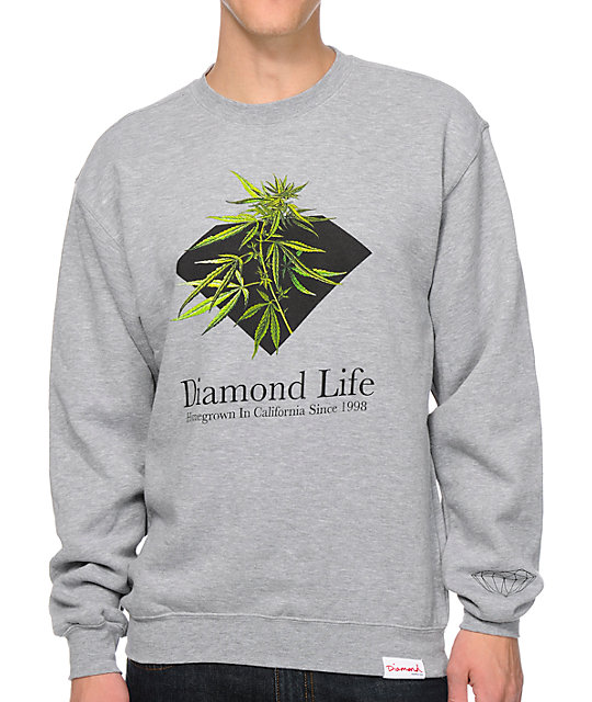 Diamond Supply Co Homegrown Heather Grey Crew Neck Sweatshirt