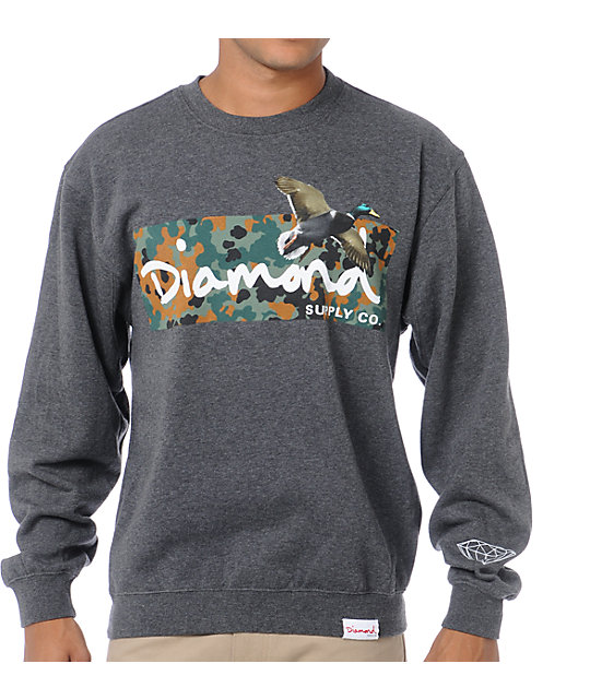 Diamond Supply Co Hunters Charcoal Crew Neck Sweatshirt