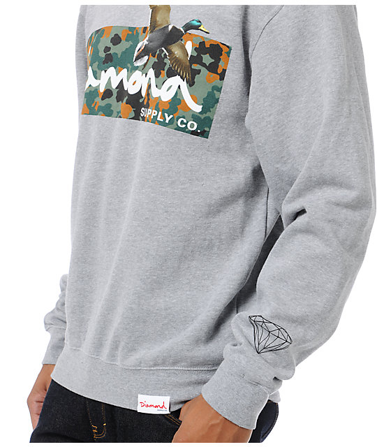 Diamond Supply Co Hunters Heather Grey Crew Neck Sweatshirt