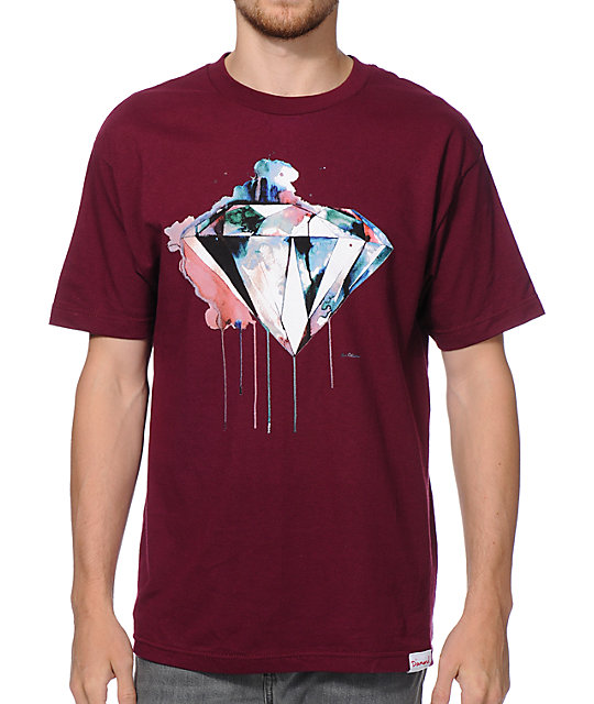 Diamond Supply Co I Art U Burgundy T-Shirt