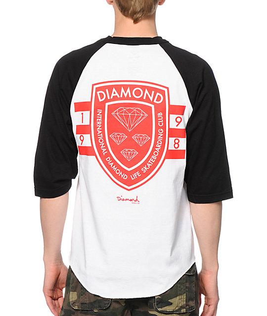 Diamond Supply Co International Skateboarding White Baseball T-Shirt