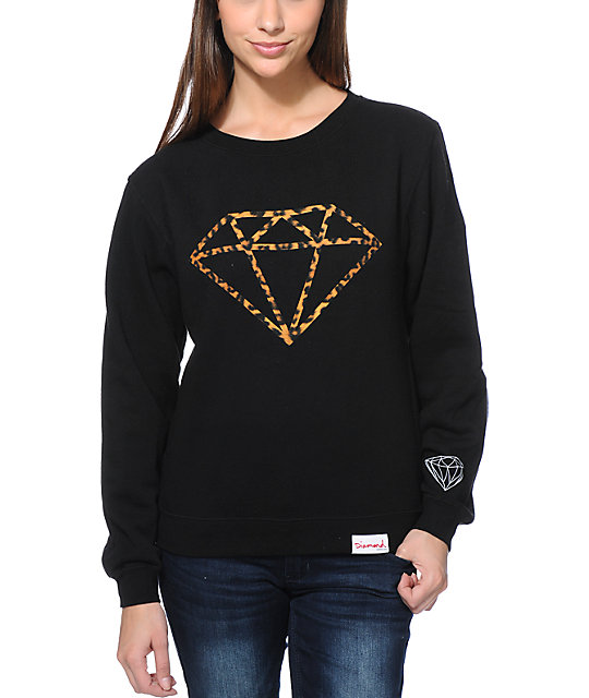 Supply Co Leopard Rock Black Crew Neck Sweatshirt