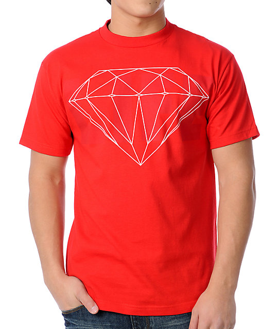 Diamond supply co life diamond red t shirt for The red t shirt company