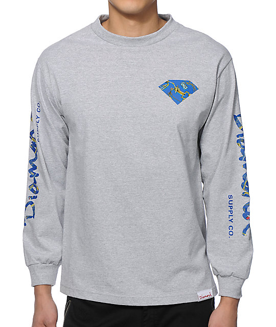 Diamond supply co low life long sleeve t shirt for Wholesale diamond supply co shirts