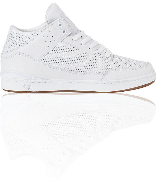 Diamond Supply Co Marquis White Perforated Leather Skate Shoes