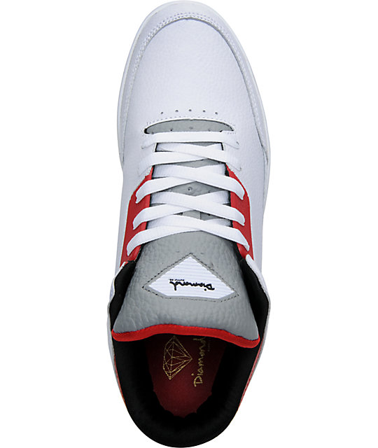 Diamond Supply Co Marquise White & Red Skate Shoes