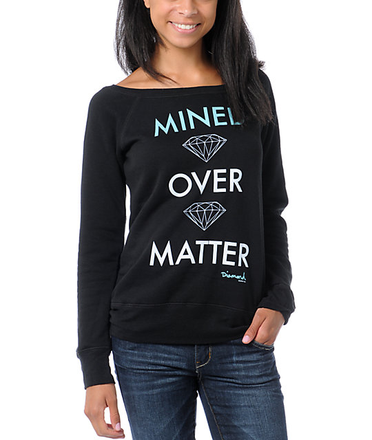 Diamond Supply Co Mined Over Matter Black Crew Neck Sweatshirt