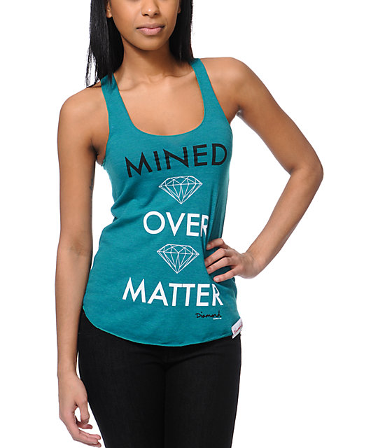 Diamond Supply Co Mined Over Matter Teal Tank Top