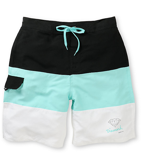 Diamond Supply Co OG Logo Black, White, & Mint 22 Board Shorts