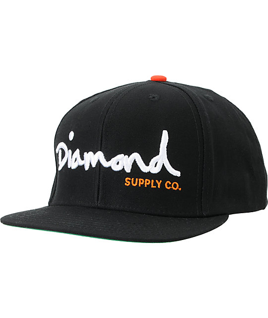Diamond Supply Co OG Logo Black, White & Orange Snapback Hat