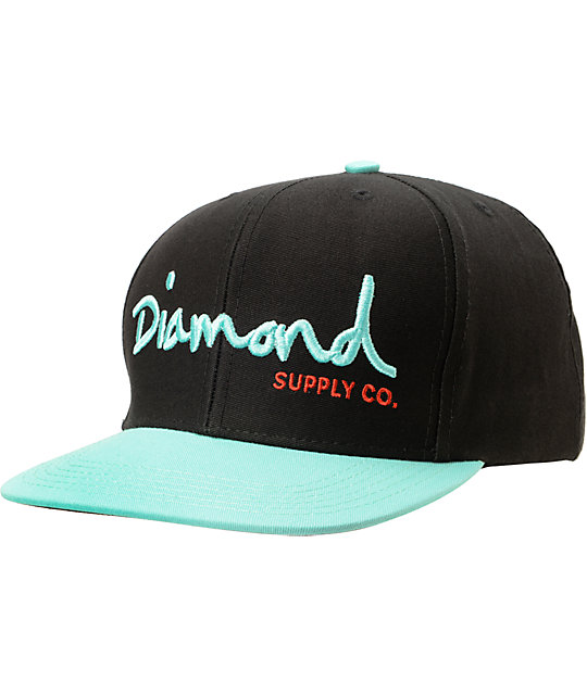 Diamond Supply Co OG Logo Black & Diamond Blue Snapback Hat