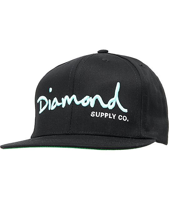 diamond supply co og logo black amp mint snapback hat