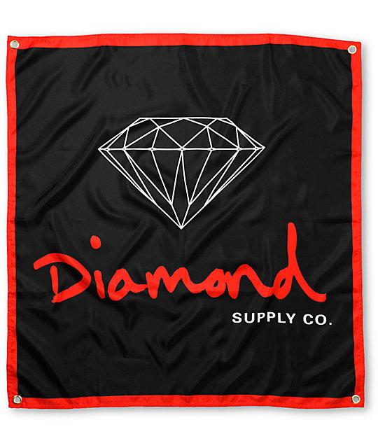 diamond supply co og logo black amp red banner