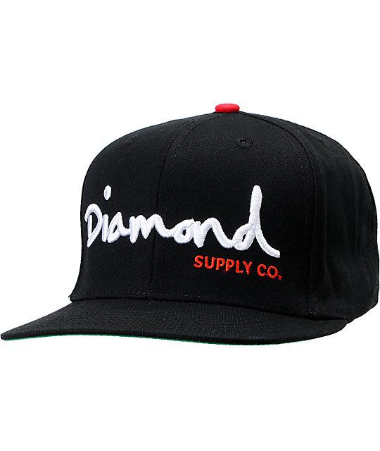 diamond supply co og logo black amp white snapback hat