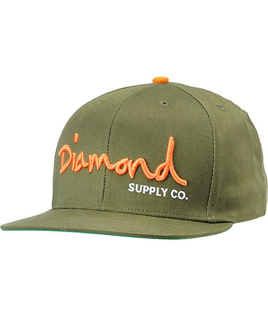 Diamond Supply Co OG Logo Forest & Orange Snapback Hat