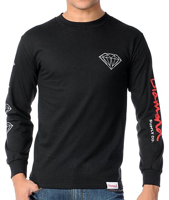 Diamond Supply Co OG Long Sleeve Black & Red T-Shirt