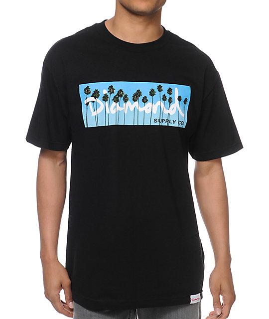 diamond supply co og palms black tshirt