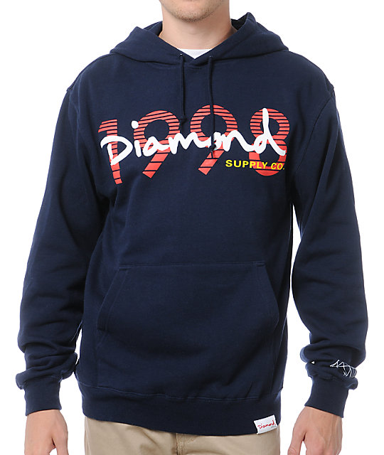Diamond Supply Co OG Script 1998 Navy Pullover Hoodie