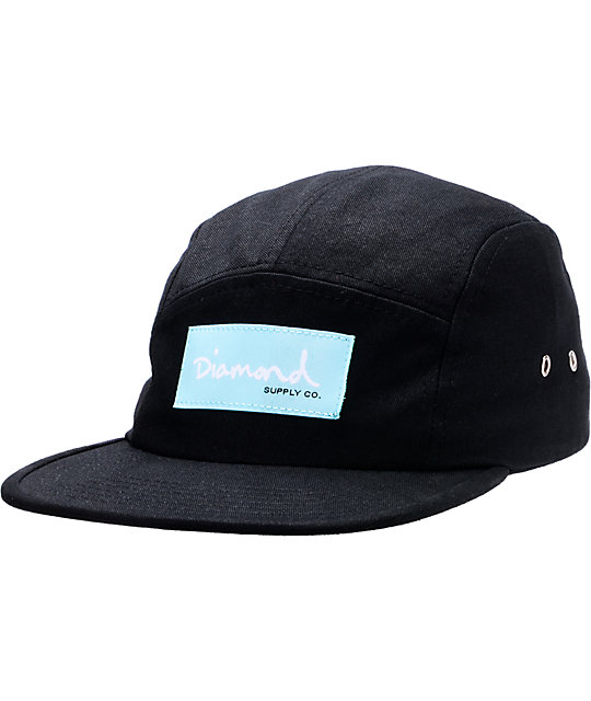 Diamond Supply Co OG Script Black 5 Panel Hat