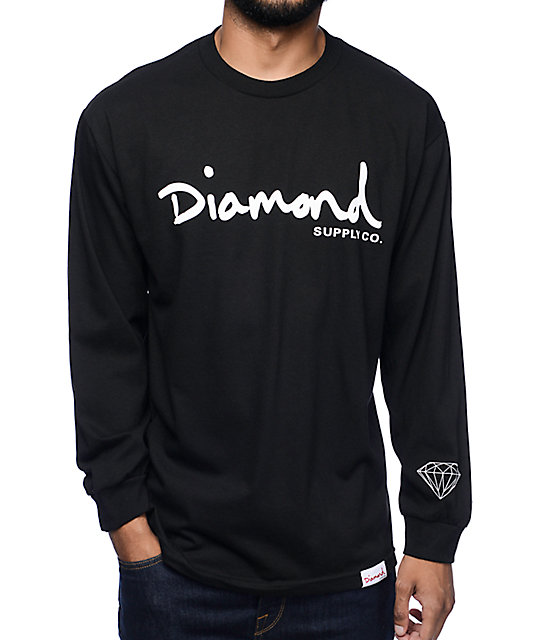 Diamond supply co og script black long sleeve t shirt for Wholesale diamond supply co shirts