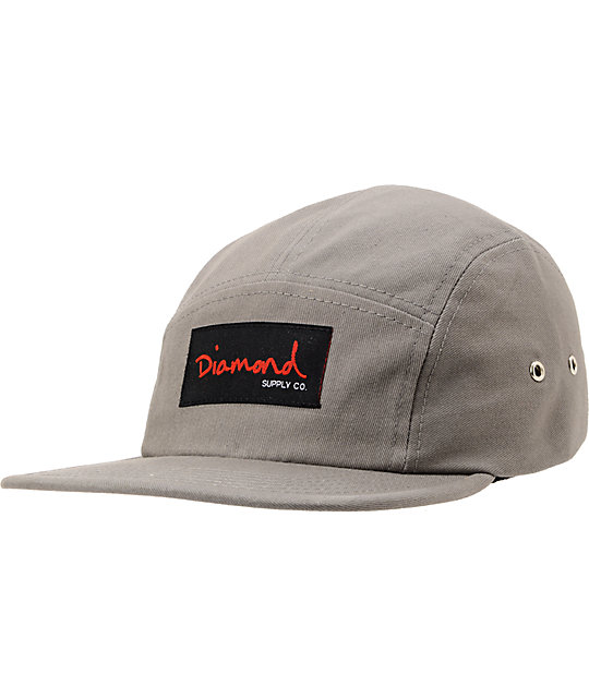 Diamond Supply Co OG Script Grey 5 Panel Hat