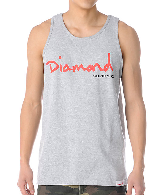 Diamond Supply Co OG Script Heather Grey & Red Tank Top