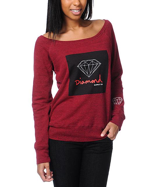 Diamond Supply Co OG Script Heather Red Crew Neck Sweatshirt