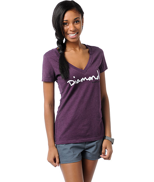 Diamond Supply Co OG Script Purple V-Neck T-Shirt
