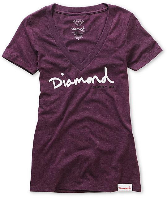 Diamond Supply Co OG Script Purple V-Neck T-Shirt