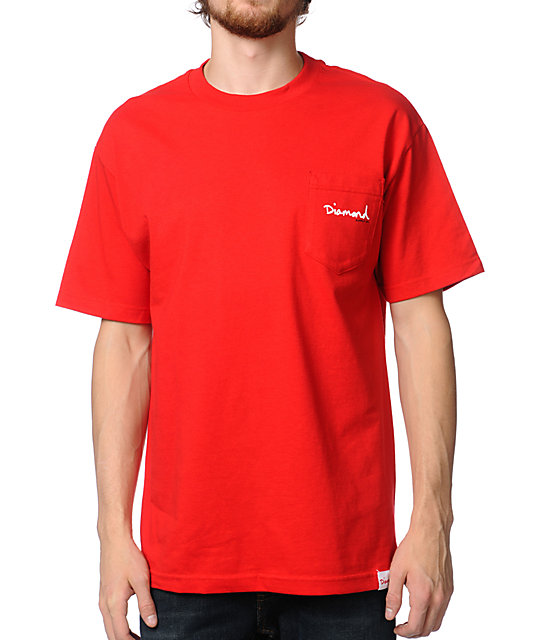 Diamond Supply Co OG Script Red Pocket T-Shirt