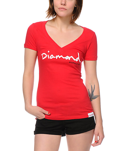 Diamond Supply Co OG Script Red V-Neck T-Shirt