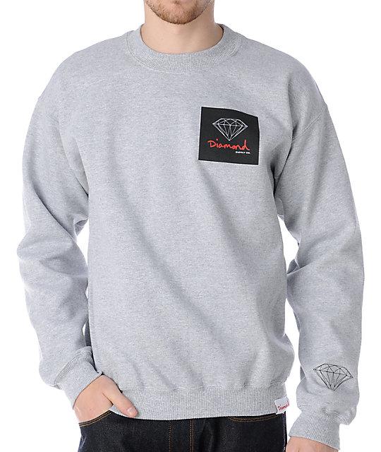 Diamond Supply Co OG Sign Heather Grey Crew Neck Sweatshirt