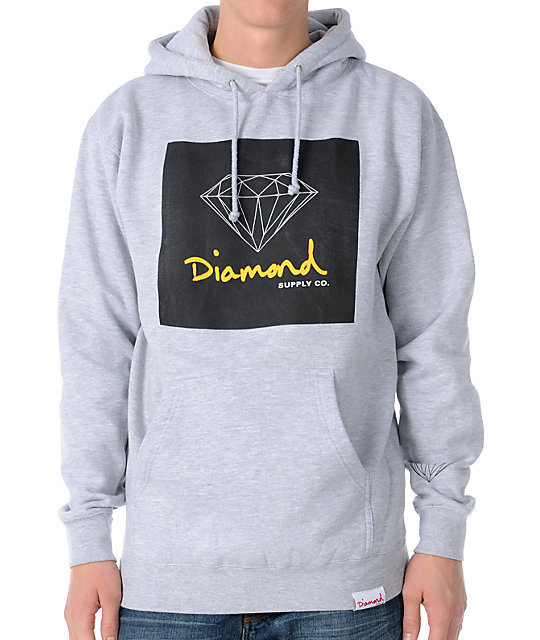 Diamond Supply Co OG Sign Heather Grey Pullover Hoodie