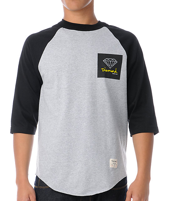 Diamond Supply Co OG Sign Raglan Grey & Black Baseball T-Shirt