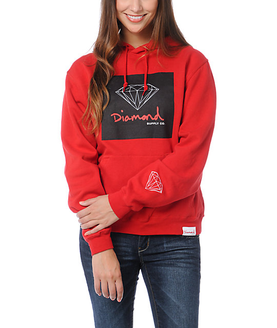 Diamond Supply Co OG Sign Red Pullover Hoodie